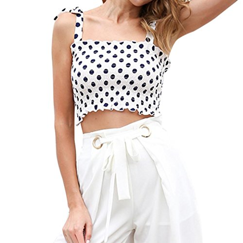 Shirt Bianco da Shirt Pois Donna T Nero e Top Elasticit Camicetta Longra in Canotta T a Pizzo da qwRqPCS