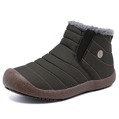 CIOR Herren und Damen Schneeschuhe Fell Gefüttert Winter Outdoor Slip On Schuhe Stiefeletten Grau / High Top