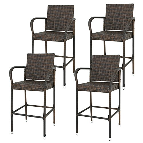 (BBBuy Wicker Bar Stool Outdoor Backyard Chair Patio Furniture with Armrest)