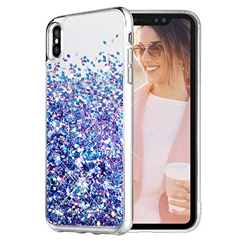 Caka iPhone Xs Max Case, iPhone Xs Max Glitter Case [with Tempered Glass Screen Protector] Bling Flowing Floating Luxury Glitter Sparkle TPU Bumper Liquid Case for iPhone Xs Max (6.5