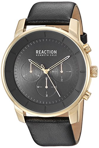 Kenneth Cole REACTION Men's Stainless Steel Analog-Quartz Watch with Leather-Synthetic Strap, Black, 22 (Model: RK50082014)
