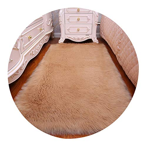 Long Hair Solid Carpet Living Room Decor Artificial Skin Rectangle Fluffy Mat Pad Anti-Slip Chair Sofa Cover Plain Area Rugs,Khaki,60x150cm