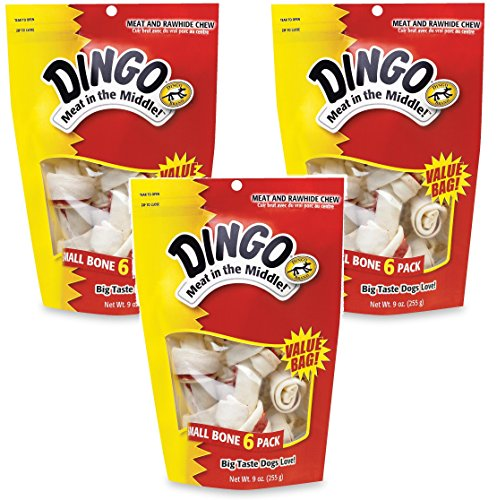 Dingo Rawhide Bones – 18 Total (3 Packs with 6 Bones per Pack) For Sale
