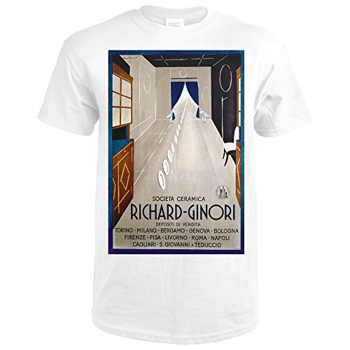 Socita Ceramica - Richard - Ginori Vintage Poster (artist: Sinopico) Italy (Premium White T-Shirt Large)