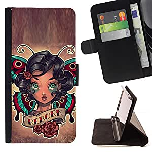 DEVIL CASE - FOR Apple Iphone 5 / 5S - Rebirth Quote Girl Tattoo Ink Art Body Butterfly - Style PU Leather Case Wallet Flip Stand Flap Closure Cover