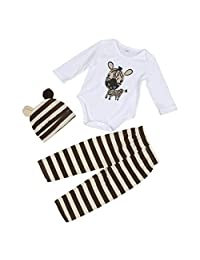 Lavany 3pcs Baby Boys Girls Infant Hat+Zebra Romper+Trousers Outfit Clothing Set