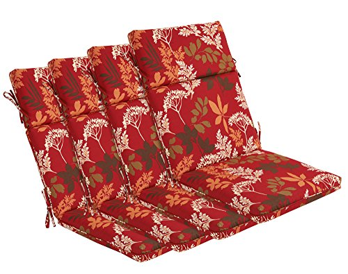 Bossima Indoor/Outdoor Red/Brown Floral High Back Chair Cushion, Set of 4,Spring/Summer Seasonal Replacement Cushions.