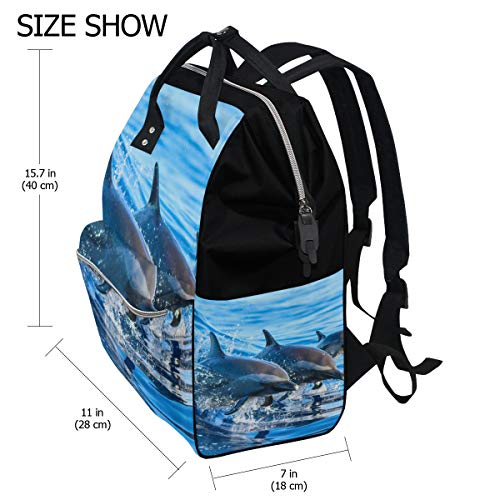 Beach Dolphin Blue Diaper Bag Mummy Dad Tote Backpack Travel School Boy Girl Large