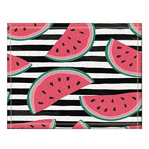NYMB Summer Beach Parties Decor, Watermelon Slices on Black and White Watercolor stripes Bath Rugs Non-Slip Floor Entryways Outdoor Indoor Front Door Mat 15.7x23.6in Bath Mat Bathroom Rugs (Multi7) (Rug Slice Watermelon)