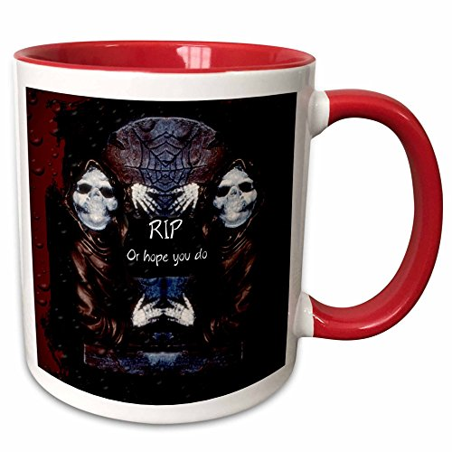 (3dRose ET Photography - Halloween Designs - Grim reaper with tombstone and Halloween saying - 15oz Two-Tone Red Mug)