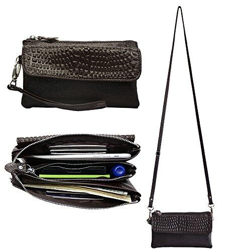 Befen Leather Wristlet Wallet Clutch Women Smartphone Cross Body Wallet with Card slots/Shoulder strap/Wrist Strap - Coffee