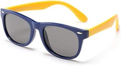 HMILYDYK Unsex Kids UV400 Polarized Sunglasses Rubber Flexible Frame Sunglasses for Kids Ages 3-10 Dark Blue Yellow