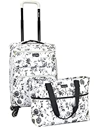 2 Piece White Flower Fashion Carry-On Luggage and Tote Set