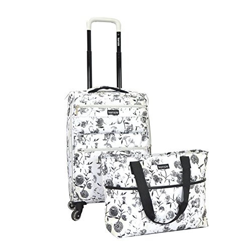 kensie 2 Piece White Flower Fashion Carry-On Luggage and Tote Set