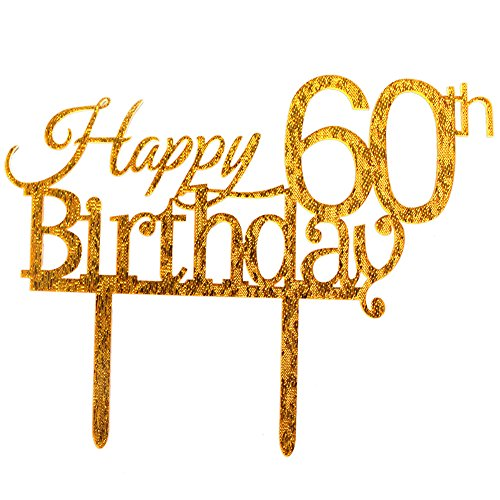 Glitter Gold Acrylic Happy 60th Birthday Cake Topper, 60 Birthday Party Cupcake Topper Decoration (60, gold)