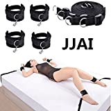 JJAI Bed Restraint System Kit Medical Grade Strap with Soft Furry Comfortable Wrist and Ankle Cuffs