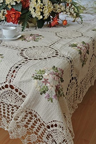 Tasleffa Elegant 100% Cotton Crochet Lace with Ribbon Hand-made Embroidered Linens Tablecloth:68