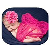 Coberllus Newborn Baby Photography Props Blanket- Wrap Lace Blanket and Headband For Girls Boy Photo Shoot Props(Rose Red)
