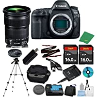 Canon EOS 5D Mark IV DSLR with 24-105mm IS STM + 2pcs 16GB Memory Card + Case + Card Reader + Tripod + 6pc ZeeTech Starter Set - International Version