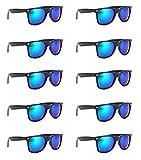 SCLM Wayfarer 80's Style Sunglasses 10 Bulk Pack Lot Neon Color Party Glasses (Green-color 10 Pack)