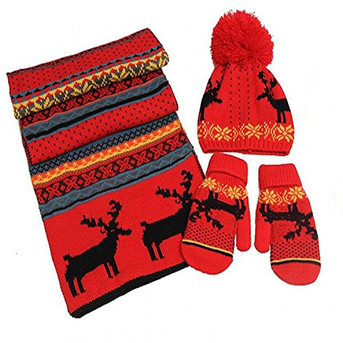 Price comparison product image H.S.D Womens Winter Knit Scarf,  Gloves & Beanie Set For Christmas Birthday Gift