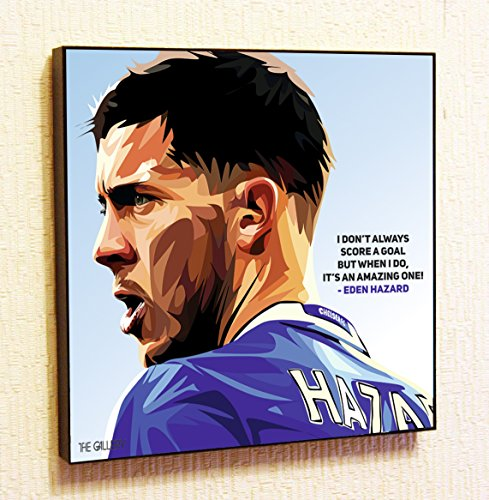 (Eden Hazard FC Chelsea Soccer Football Framed Poster Pop Art for Decor with Motivational Quotes Printed (10x10 (25.4cm x 25.4cm)))