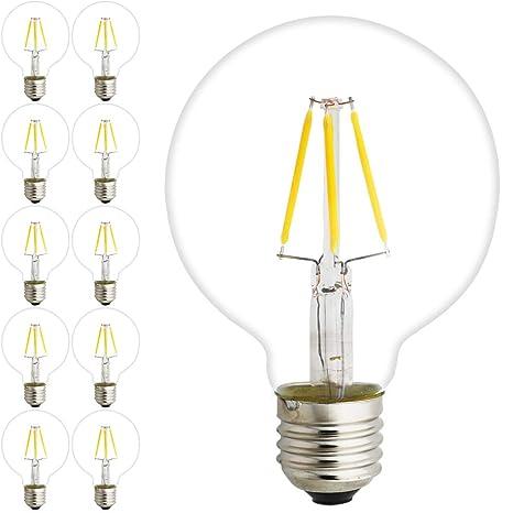 10 piezas Filamento LED E27 Cristal Globo de 4 W G125 E27 blanca cálida 2200 K
