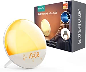 MoesGo WiFi 2nd Generation Smart Wake up Light with 7 Colours, Sunrise and Sunset Simulation, 4 Alarms, FM Radio, Snooze, Night Light, Compatible with Alexa and Google Home