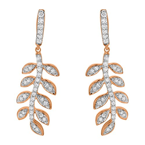 14k Rose Gold Women's Diamond Leaf Drop Earrings (1/2 cttw, I1 ClarIty, H-I Color) by Olivia Paris Fine Jewelry