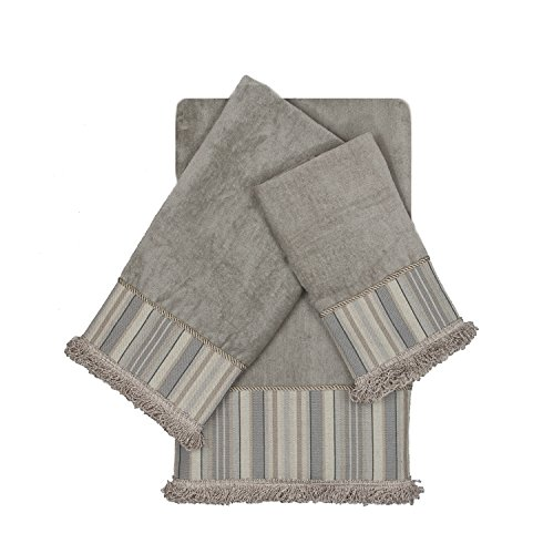 Sherry Kline Aberdeen Stripe Grey 3-Piece Decorative Embellished Towel Set