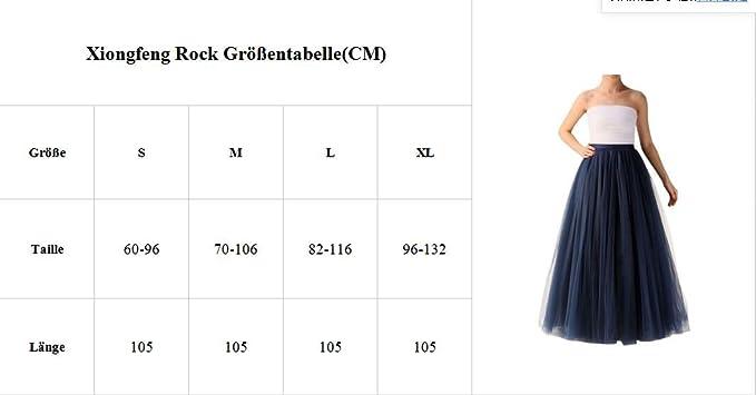 ceca6bbdc93f2c Xiongfeng®Damen 5 Layer Tüllrock Lang Tutu Unterrock Prinzessin Rock(Blau,5XL):  Amazon.de: Bekleidung