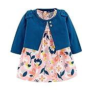 Carter's Baby Girls 2 Piece Bodysuit Dress and Cardigan Sweater Set, Blue/Pink, Newborn