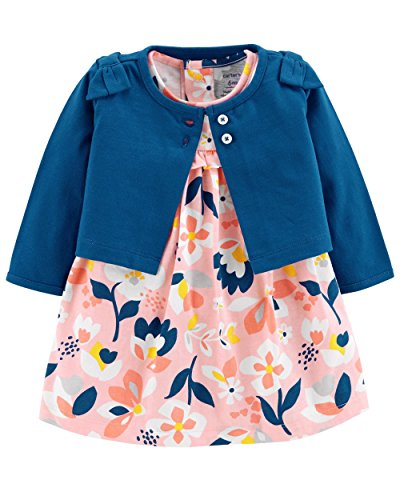 Carter's Baby Girls 2 Piece Bodysuit Dress and Cardigan Sweater Set, Blue/Pink, 12 Months -