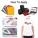 """Heat Transfer Vinyl Assorted Colors 12 Sheets 12""""x 10"""" Heat Transfer Bundle Iron on HTV for T Shirts, Hats, Clothing Heavy Duty Vinyl for Silhouette Cameo, Cricut or Heat Press Machine Tool"""