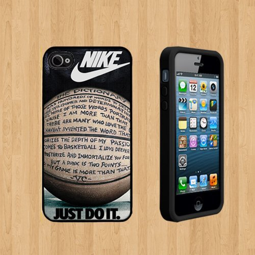 NIKE JUST DO IT QUOTE BASKETBALL Custom Case/Cover FOR Apple iPhone 4 /4S BLACK Rubber Case ( Ship From CA )