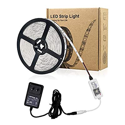 Zombber Bluetooth RGB LED Strip Lights Kit, Comes with 16.4 Foot 5050 150 LEDs 12v Light Strips, Bluetooth Controller and AC/DC Power Supply, PC TV Dimmable LED Strip, Works with Android, IOS System