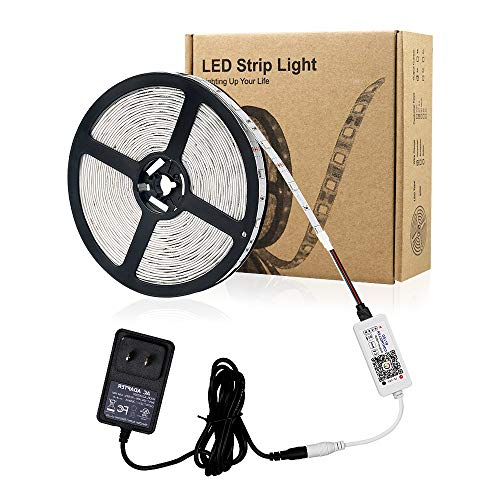 Zombber Bluetooth RGB LED Strip Lights Kit, Comes with 16.4 Foot 5050 150 LEDs 12v Light Strips, Bluetooth Controller and AC/DC Power Supply, PC TV Dimmable LED Strip, Works with Android, IOS System by Zombber