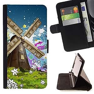 For Sony Xperia Z3 Compact / Z3 Mini (Not Z3) Case , Naturaleza Pintura Art Summer Flowers- la tarjeta de Crédito Slots PU Funda de cuero Monedero caso cubierta de piel