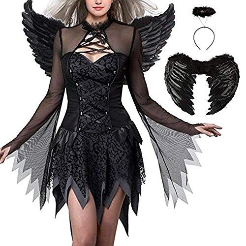(Dark Angel Costume Fallen Angel Dress Halloween Black Queen Cosplay Party)