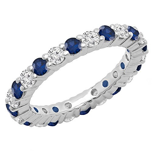 Dazzlingrock Collection 14K Round Blue Sapphire & White Diamond Ladies Eternity Wedding Band, White Gold, Size 7