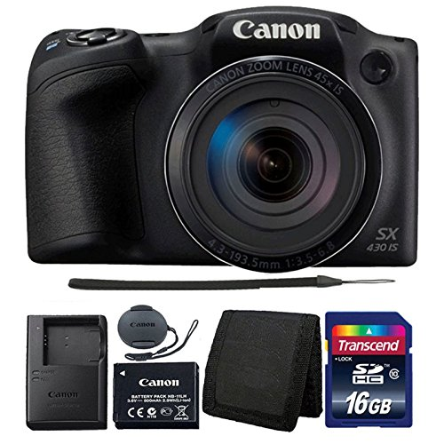 Canon PowerShot SX430 IS Black Digital Camera + 16GB Memory Card + Wallet