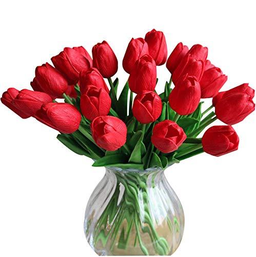 Montout 12PCS/Set PU Stunning Holland Tulip Flower Real Touch Artificial Silk Flowers Arrangement Bouquet Home Room Office Wedding Party Decor (Red) ()