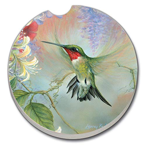 Hummingbird Coaster - Hummingbird & Honeysuckle Auto Coaster - Single Coaster for Your Car