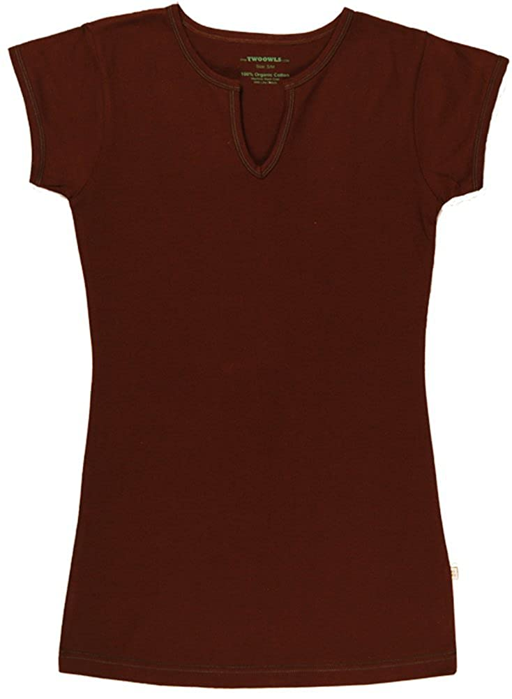 TwOOwls Short Sleeve Tee-100/% organic cotton Brown with blue stitching