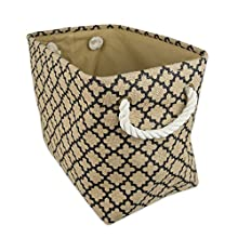DII Collapsible Burlap Storage Basket or Bin with Durable Cotton Handles, Home Organizational Solution for Office, Bedroom, Closet, Toys, Laundry (Medium – 12x10x16), Black Lattice Outline