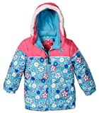 Rugged Bear Baby Girls' Floral Printed Puffer, Blue, Kids Size 6x
