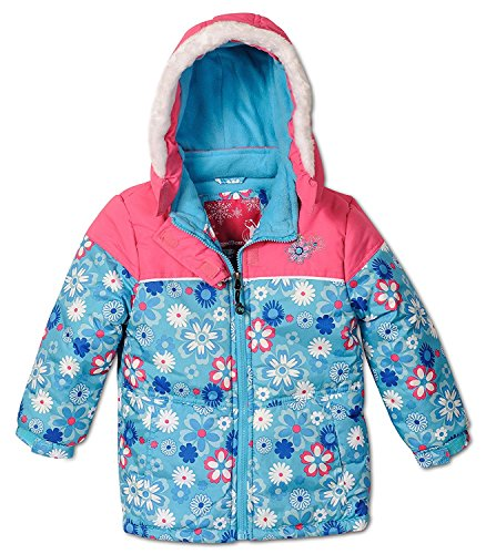 Rugged Bear Baby Girls' Floral Printed Puffer, Blue, Kids Size 6x by Rugged Bear