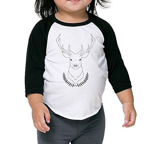 Double Breasted Velvet Costumes (Animal Deer Kid's Sleeve Raglan Clothes Unisex 4 Toddler Fashion)