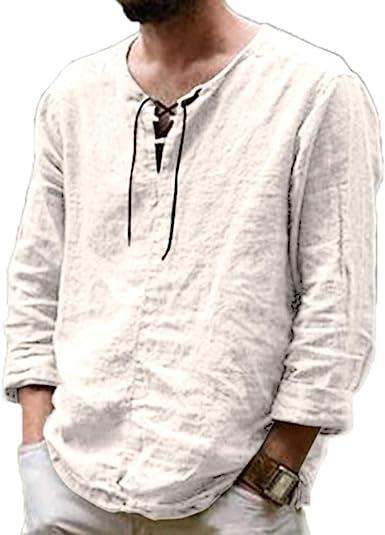 Camisetas de Lino para Hombres Camisas de Manga Larga de Cuello Redondo con Cordones de Color sólido de Moda: Amazon.es: Ropa y accesorios