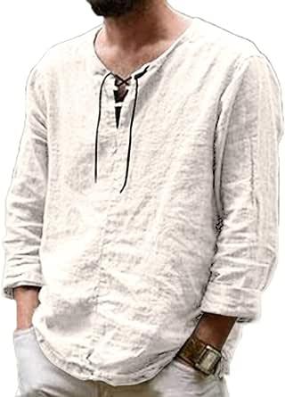 Camisetas de Lino de algodón Casuales para Hombres Camisas de ...